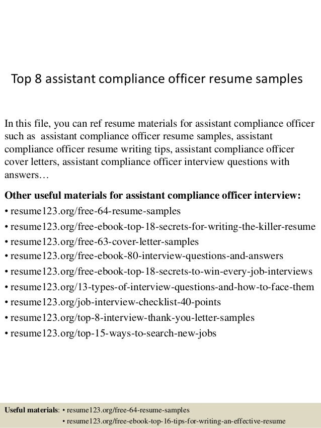 Top 8 Assistant Compliance Officer Resume Samples In This File, You Can Ref  Resume Materials ...  Compliance Officer Resume
