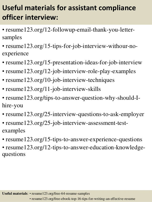 top 8 assistant compliance officer resume samples