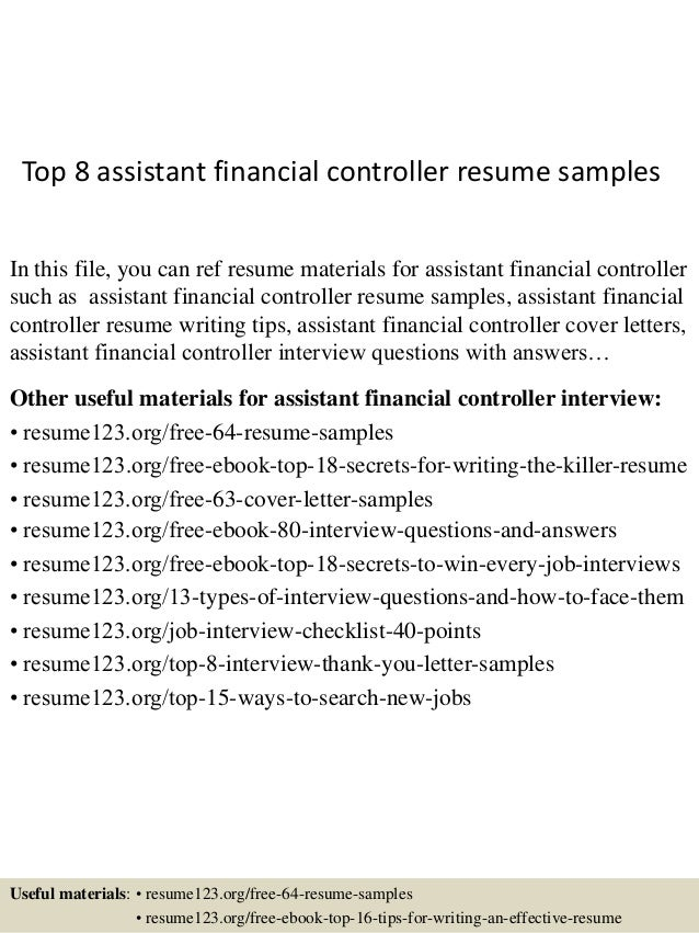 Top 8 Assistant Financial Controller Resume Samples In This File, You Can  Ref Resume Materials ...