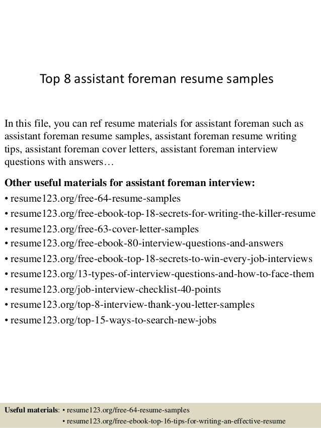 https://image.slidesharecdn.com/top8assistantforemanresumesamples-150530090804-lva1-app6891/95/top-8-assistant-foreman-resume-samples-1-638.jpg?cb\u003d1432976932