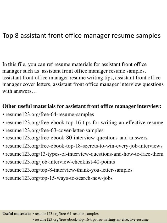 top 8 assistant front office manager resume samples