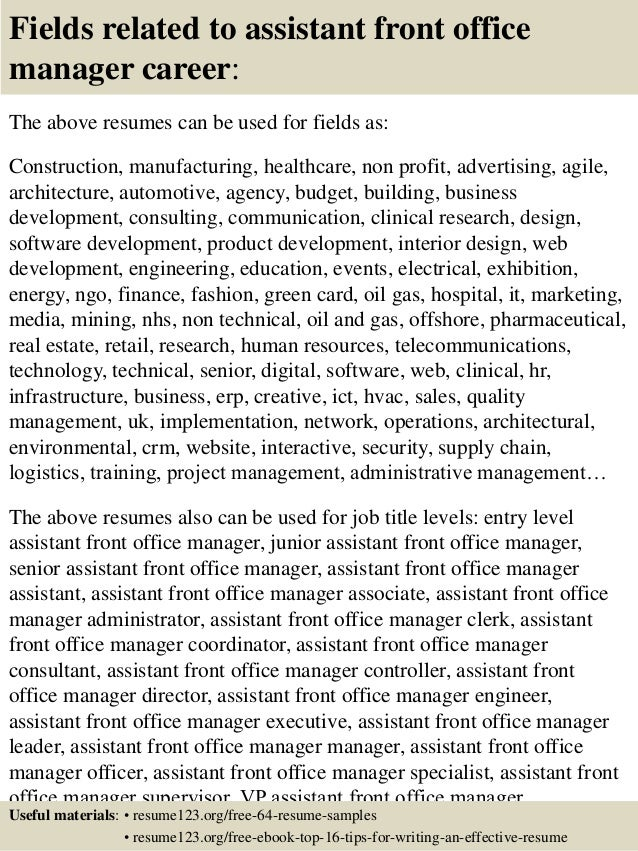 ... 16. Fields Related To Assistant Front Office Manager ...  Front Office Manager Resume