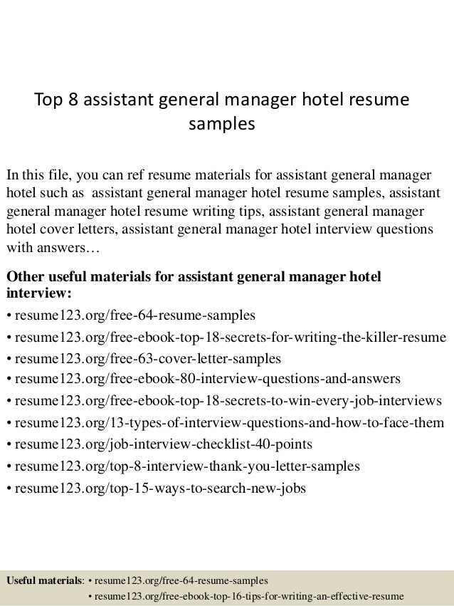 top 8 assistant general manager hotel resume samples