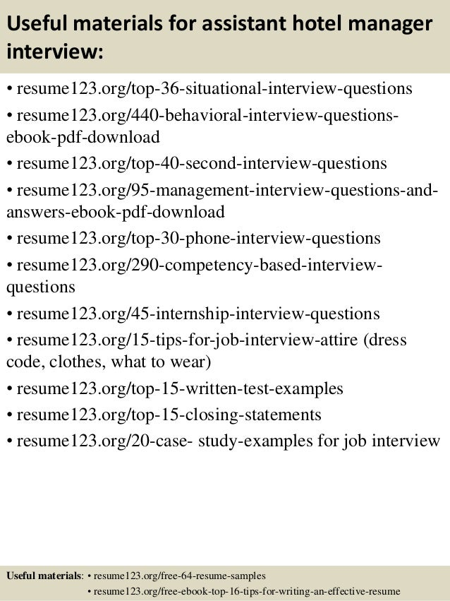 Top 8 Assistant Hotel Manager Resume Samples