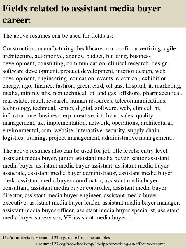 top 8 assistant media buyer resume samples