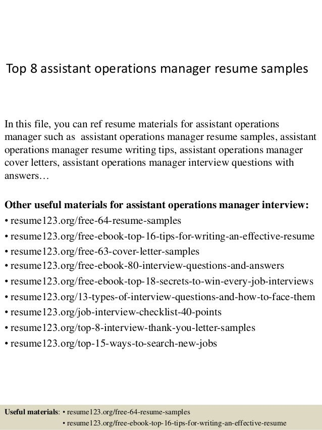 top 8 assistant operations manager resume samples in this file you can ref resume materials. Resume Example. Resume CV Cover Letter