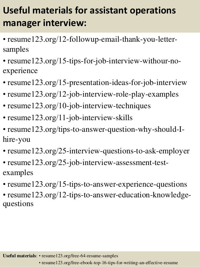 14 useful materials for assistant operations manager. Resume Example. Resume CV Cover Letter