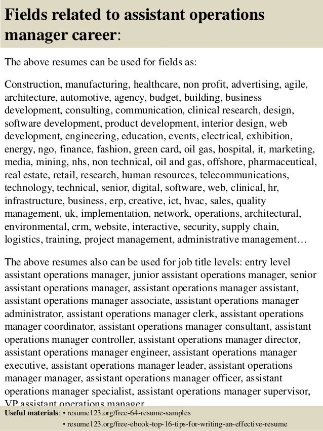16 fields related to assistant operations manager - Assistant Operation Manager Resume