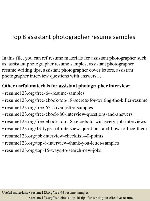 top 8 assistant photographer resume samples 1 638 jpg cb 1433253675