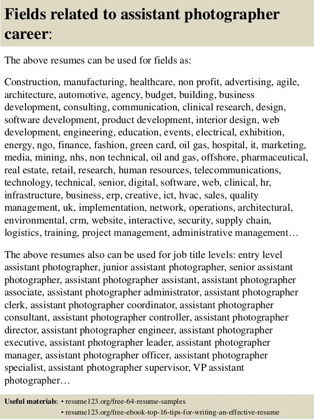 16 Fields Related To Assistant Photographer