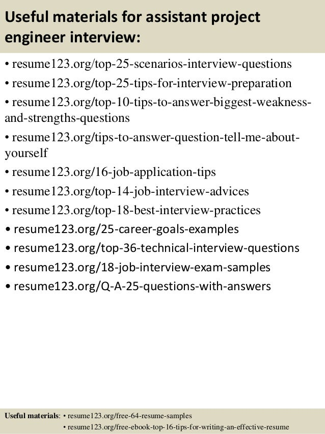 13 useful materials for assistant project engineer - Assistant Project Engineer Sample Resume