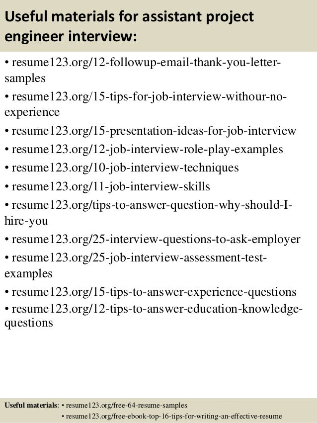 14 useful materials for assistant project engineer - Assistant Project Engineer Sample Resume