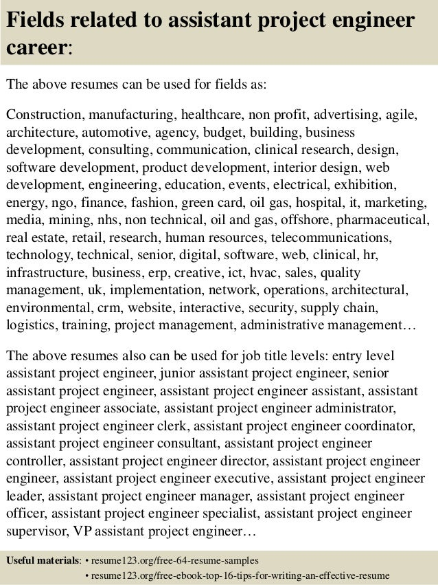 top 8 assistant project engineer resume samples