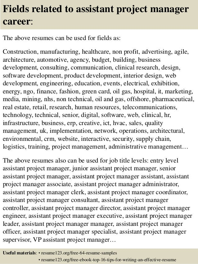 16 fields related to assistant project manager - Assistant Project Manager Resume