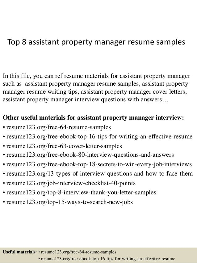 Lovely Top 8 Assistant Property Manager Resume Samples In This File, You Can Ref  Resume Materials ...  Assistant Property Manager Resume