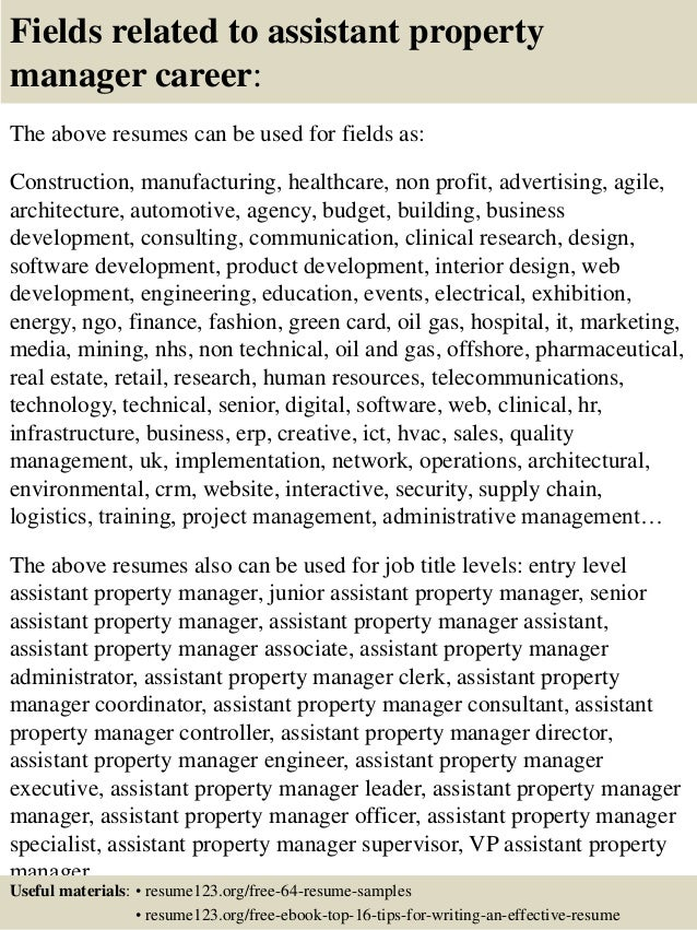 top 8 assistant property manager resume samples property manager job description for resume real estate property manager job description