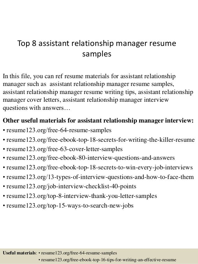 Resume Resume Sample Relationship Manager top 8 assistant relationship manager resume samples 1 638 jpgcb1432130758 in this file you can ref materials