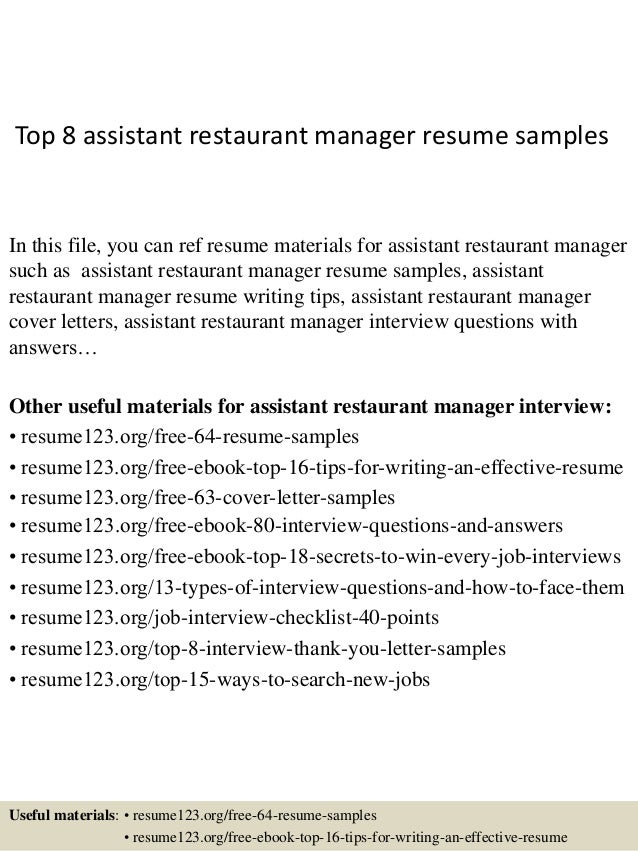 top 8 assistant restaurant manager resume samples