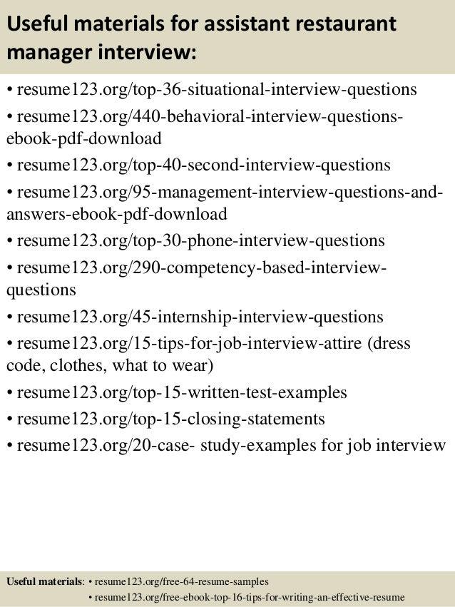resume of restaurant manager