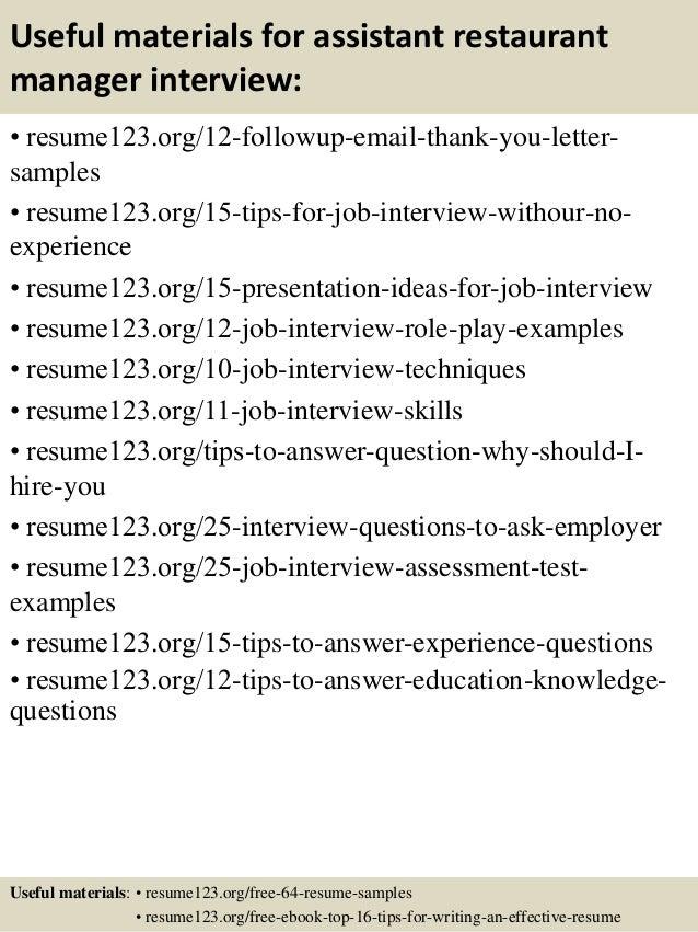 Top 8 Assistant Restaurant Manager Resume Samples