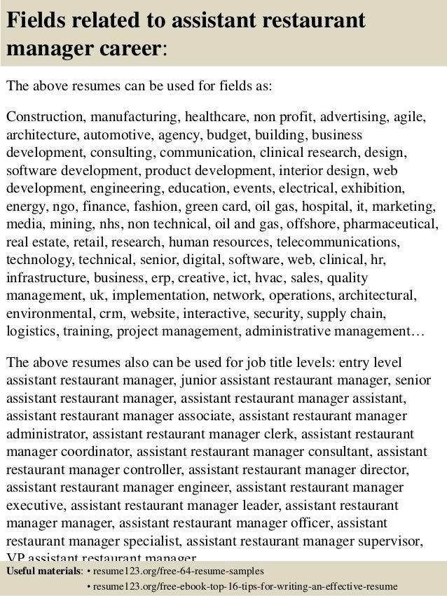 Assistant Restaurant Manager Resume Job Description Tikir