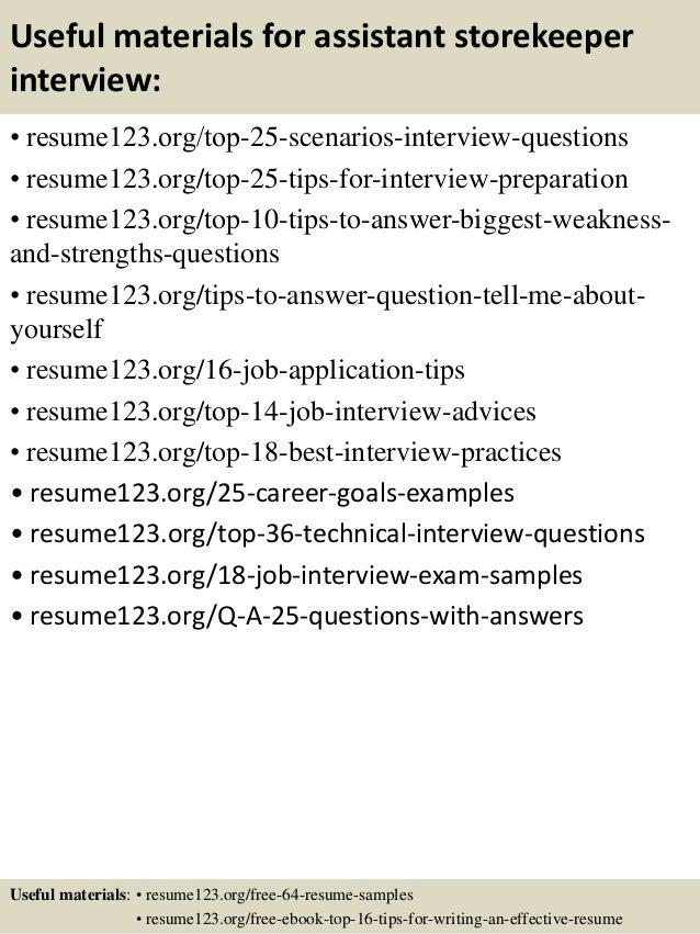 Top 8 Assistant Storekeeper Resume Samples