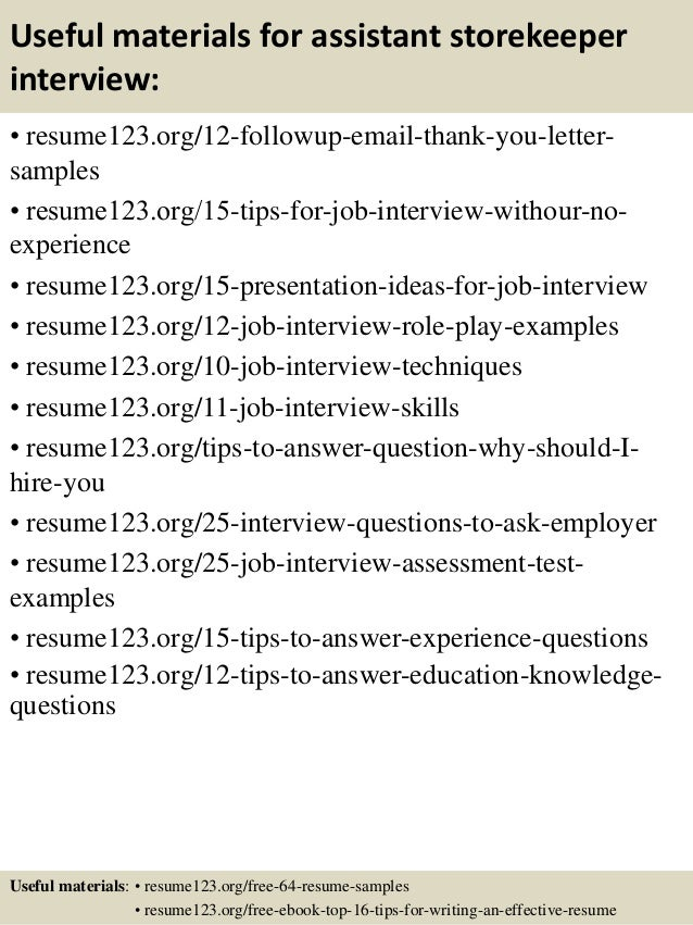 Top 8 Assistant Storekeeper Resume Samples