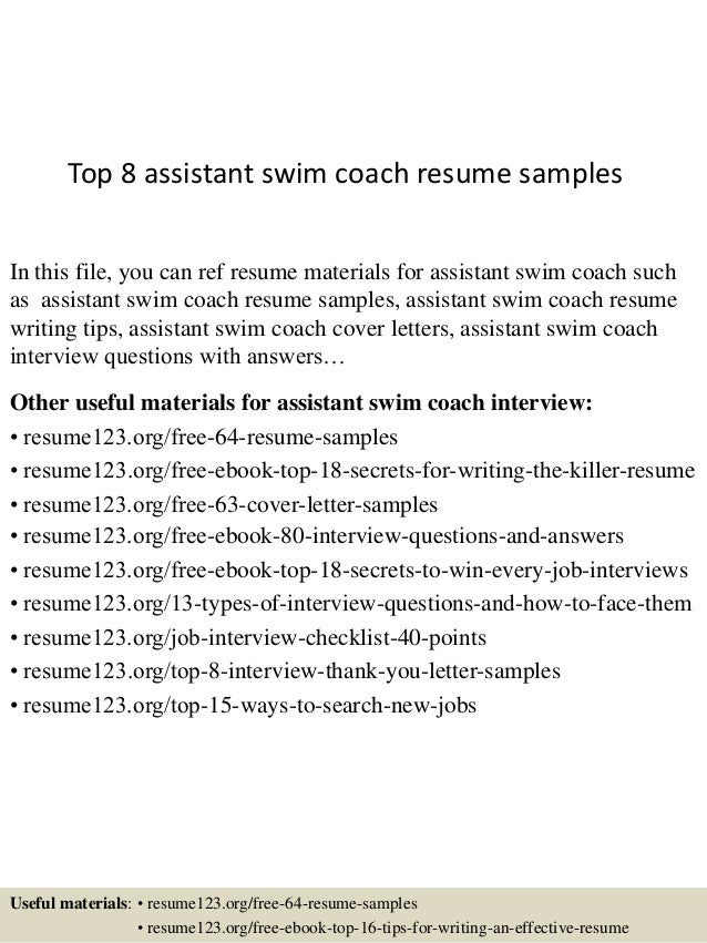 Good Top 8 Assistant Swim Coach Resume Samples In This File, You Can Ref Resume  Materials ...