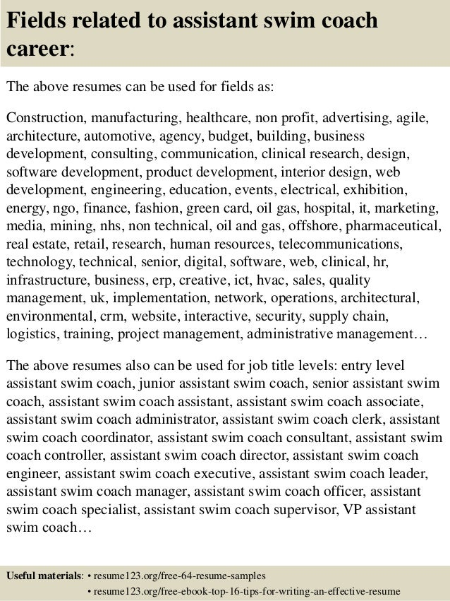16 fields related to assistant swim coach career the above resumes - Career Coach Resume Sample