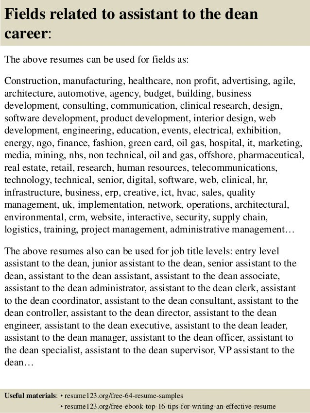resume for dean of academic affairs