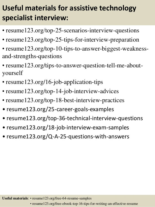Top 8 assistive technology specialist resume samples