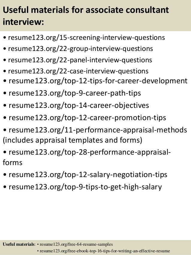15 useful materials for associate consultant - Consulting Associate Sample Resume