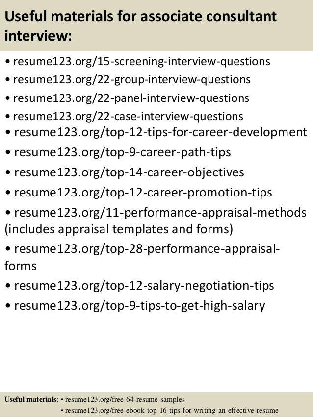 top 8 associate consultant resume samples
