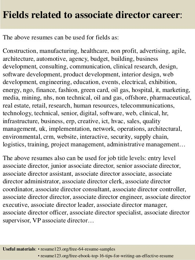 top 8 associate director resume samples
