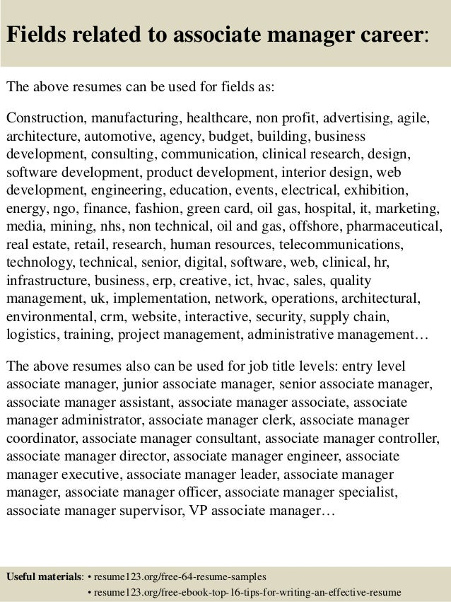 top 8 associate manager resume samples