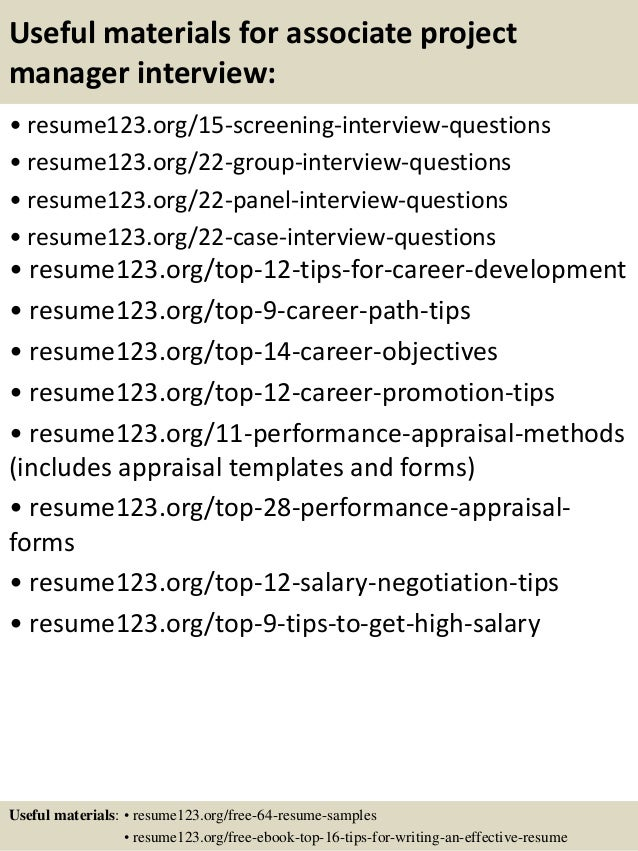 ... 15. Useful Materials For Associate Project Manager ...  Associate Project Manager Resume