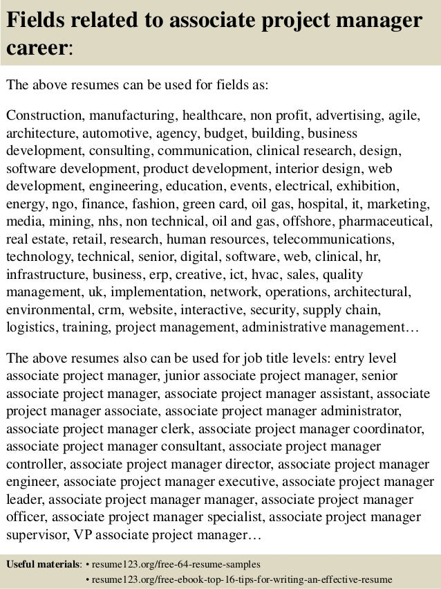 16 fields related to associate project manager