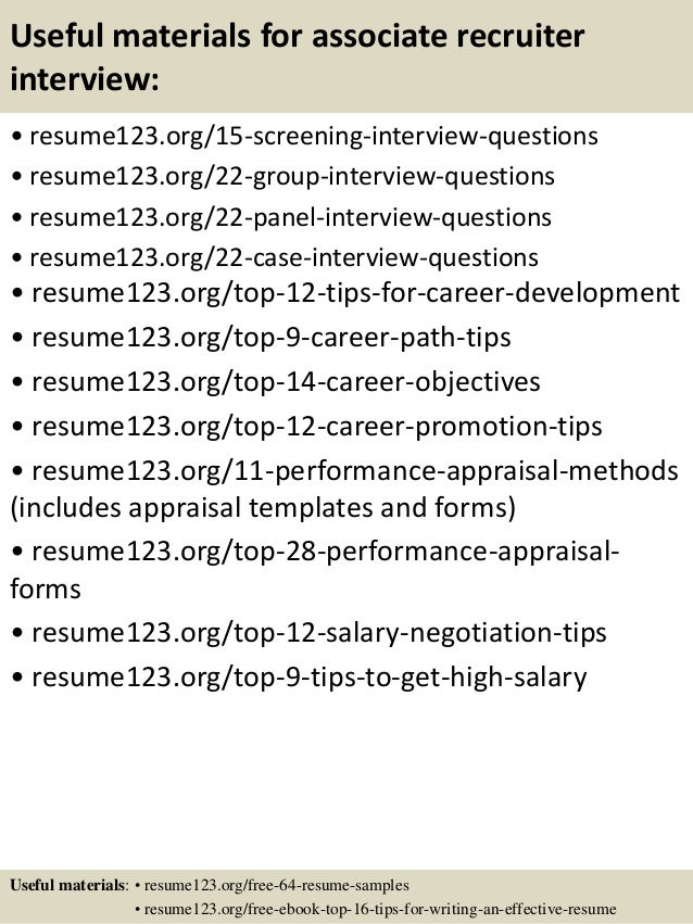 15 useful materials for associate recruiter - Associate Recruiter Sample Resume