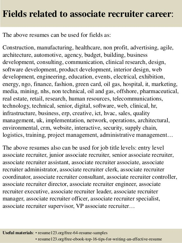 associate recruiter resume - Associate Recruiter Sample Resume