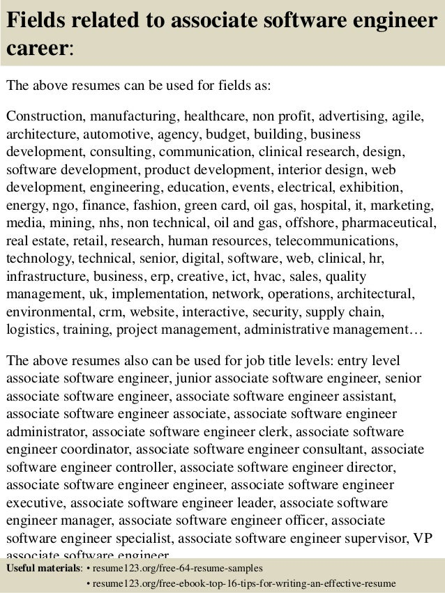 Top 8 Associate Software Engineer Resume Samples