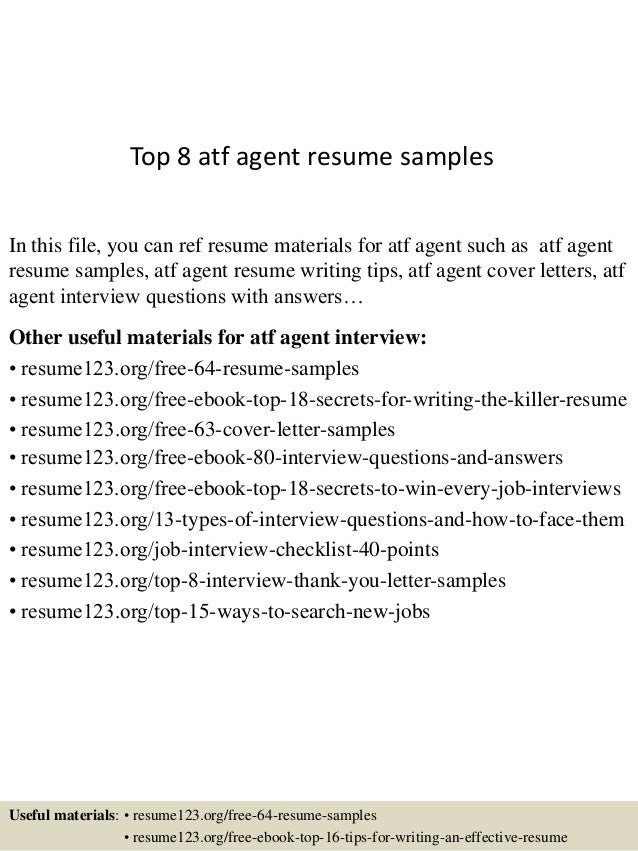 Top 8 Atf Agent Resume Samples In This File, You Can Ref Resume Materials  For ...  Guest Service Agent Resume
