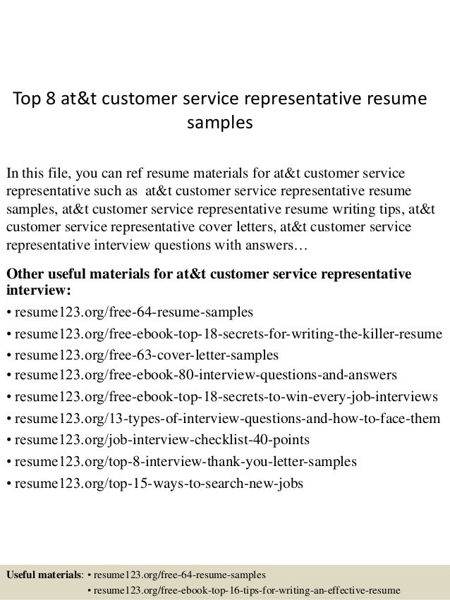 Top 8 Att Customer Service Representative Resume Samples