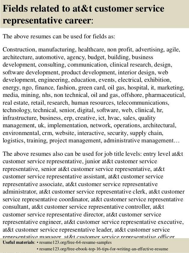 Customer service representatives resume
