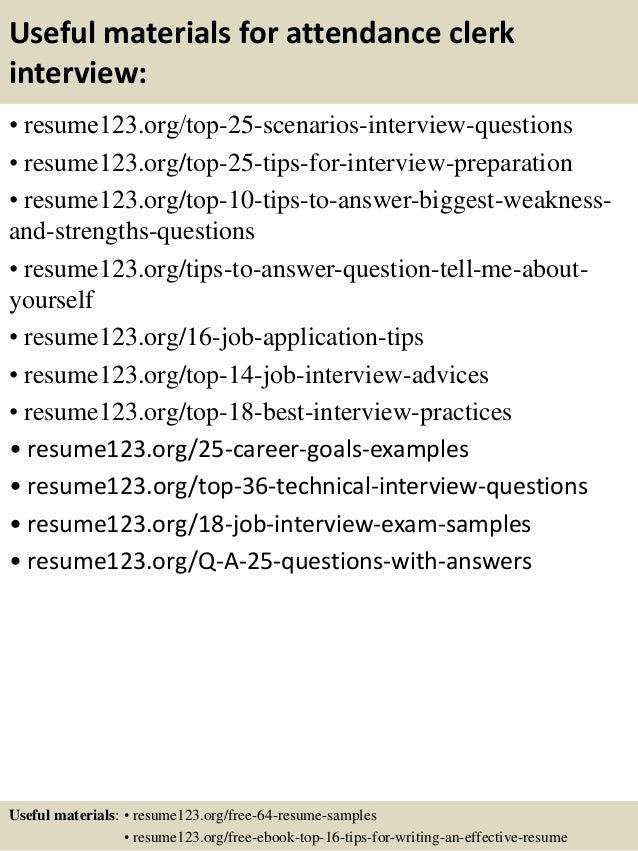 top 8 attendance clerk resume samples