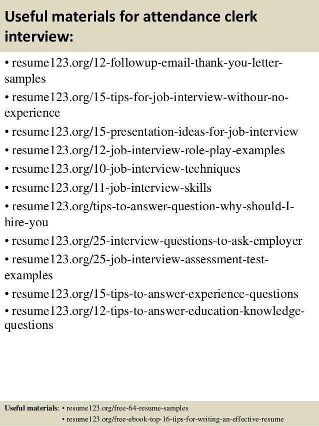 top 8 attendance clerk resume samples