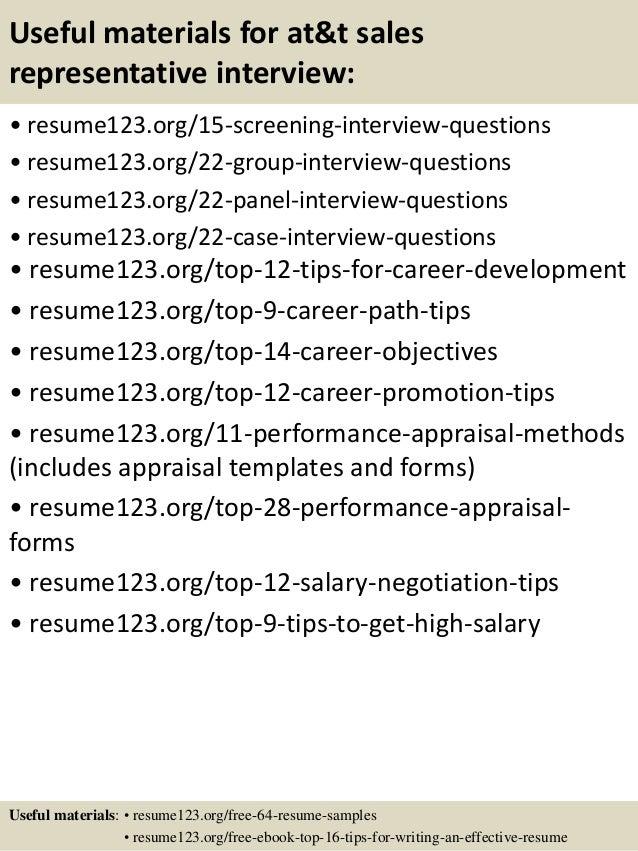 Top 8 at&t sales representative resume samples