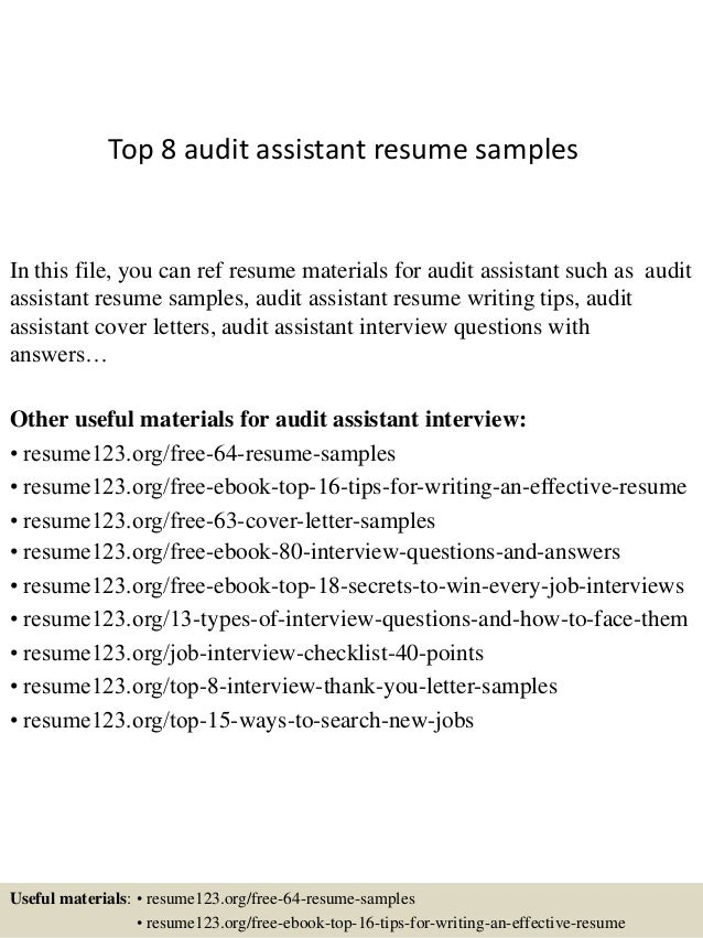 Top 8 Audit Assistant Resume Samples In This File, You Can Ref Resume  Materials For ...