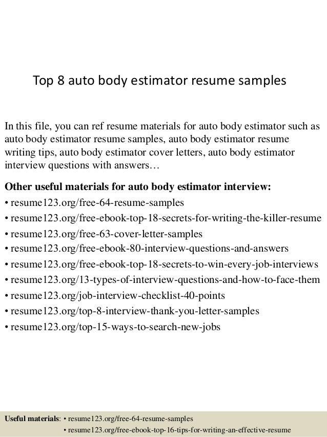 Auto body estimator resume