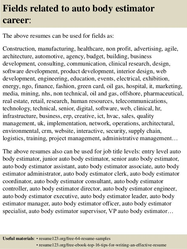 resume for auto body painter