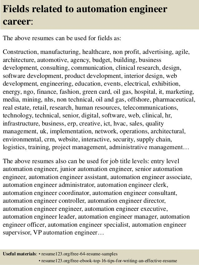 16 fields related to automation engineer - Senior Automation Engineer Sample Resume